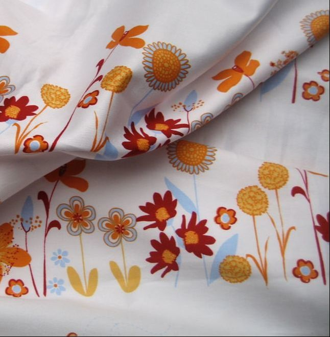 10 Flowers white orange red yellow floral organic cotton sateen