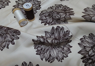 Evelyn Dalhia brown on natural organic cotton sateen